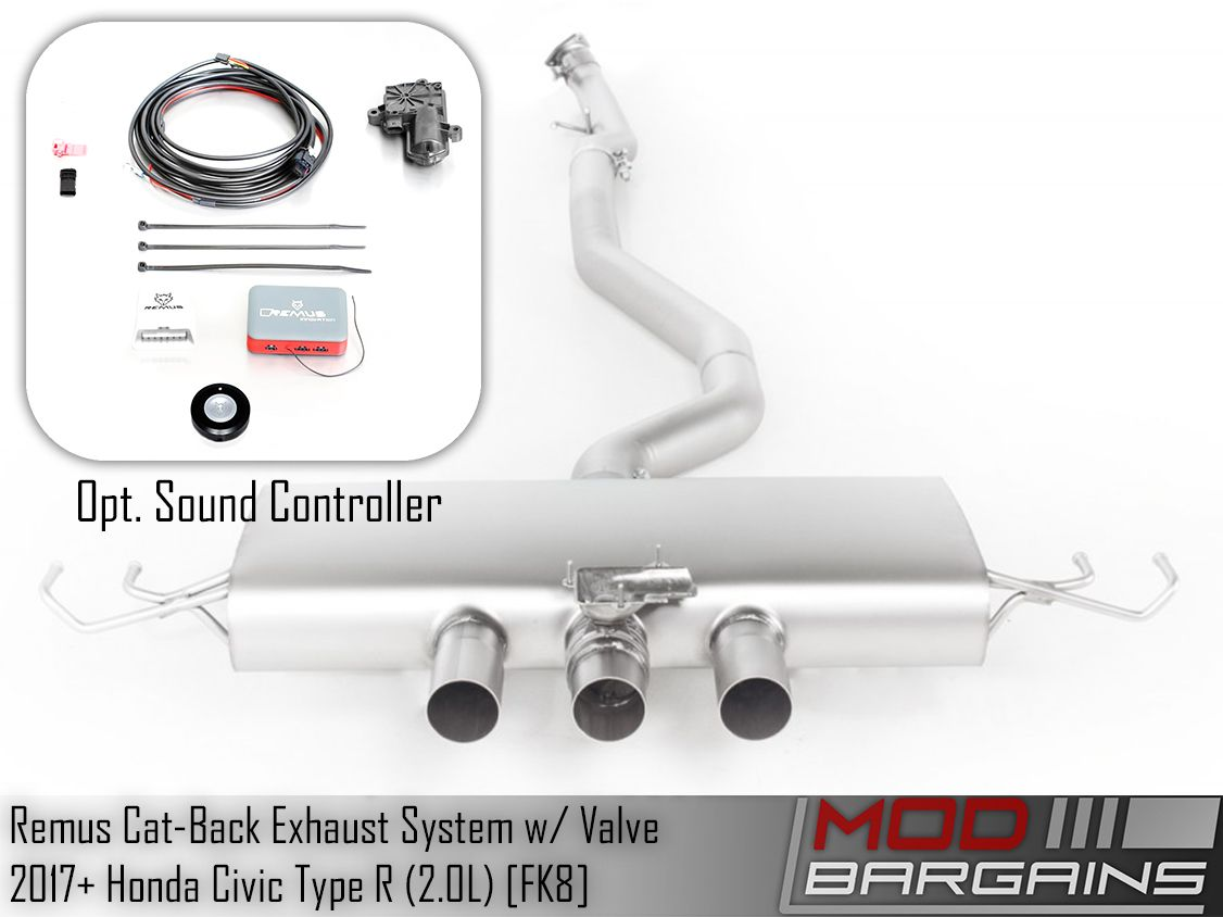 remus cat back exhaust system w valve for 2017 honda civic type r fk8