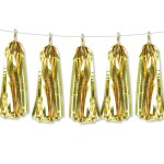 Metallic Foil Paper Tassels Garland Diy Kit 5 Tassels All Metallic Gold Give Fun