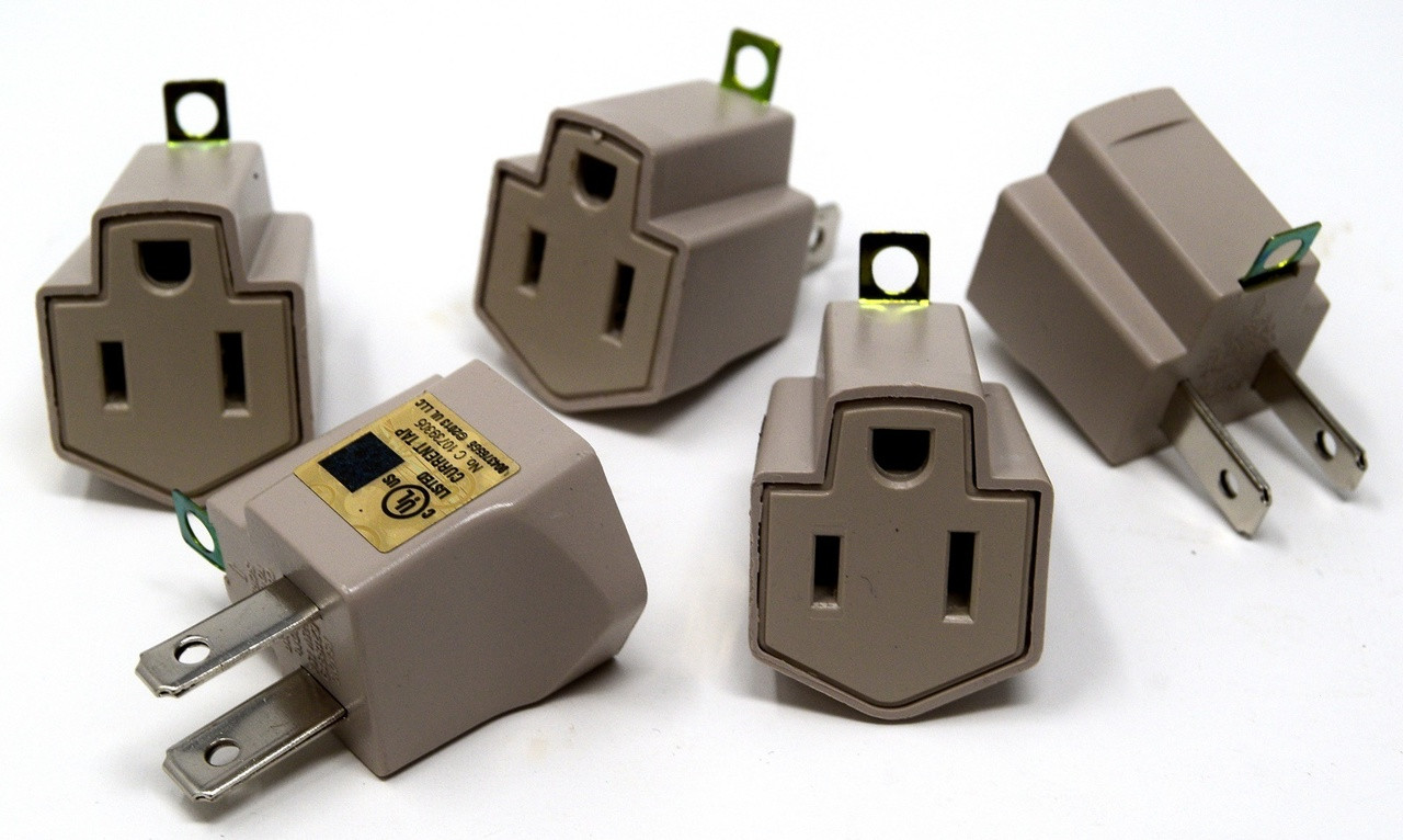 small resolution of 5 pieces electrical ground adapter 2 prong outlet to 3 prong plug ac ul listed