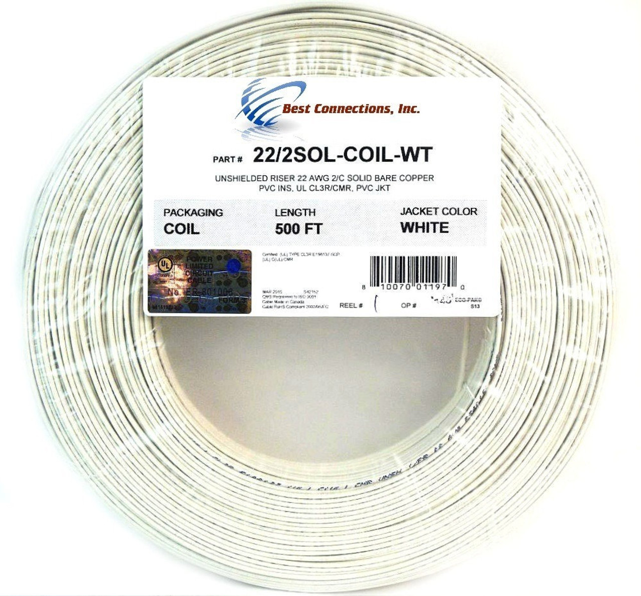 small resolution of 22 gauge 1000 feet solid copper alarm wire cable white ul rated 2 x 500