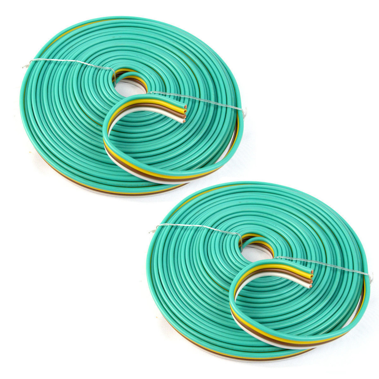 2 rolls 14 gauge 25 feet flat trailer light cable wiring harness copper wire [ 1200 x 1200 Pixel ]