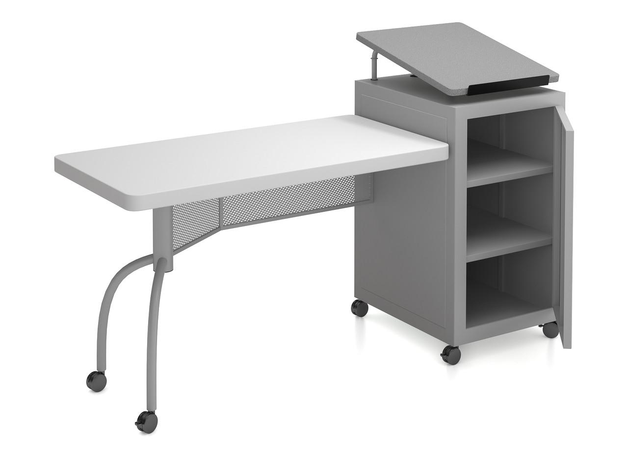 folding chair desk combo swivel club chairs edupod lectern and teacher s by oklahoma sound