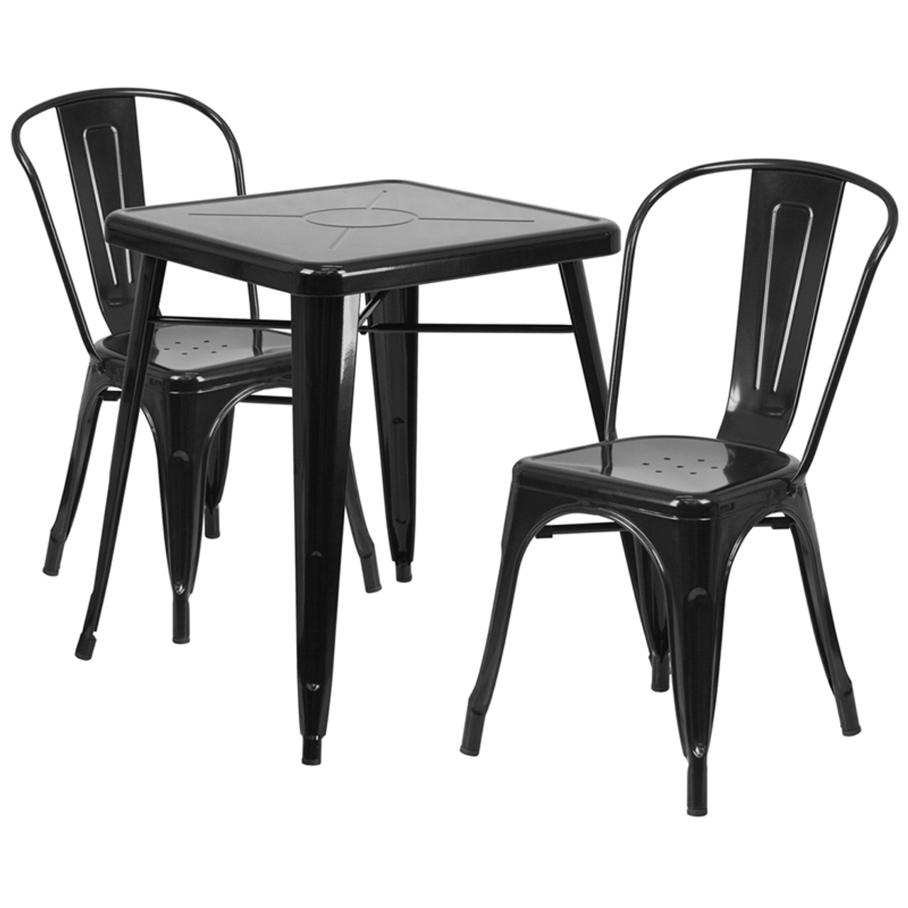 metal chairs and table french for sale indoor outdoor cafe 3 piece set 23 75 square with 2 stack