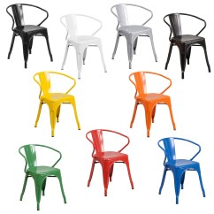 Metal Stacking Chairs Outdoor Winnie The Pooh High Chair Banner Indoor Bistro Tolix With Arms Foldingchairsandtables Com