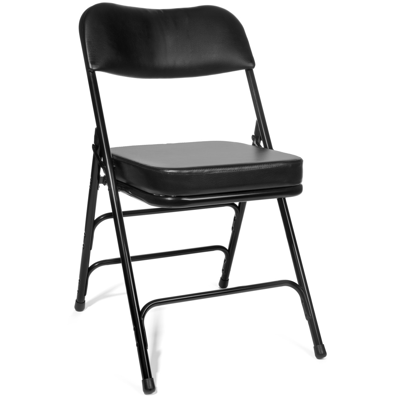black padded folding chairs hanging chair pinterest xl series 2 inch vinyl taller back quad thick hinged triple cross braced