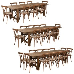 Rustic Farm Table And Chairs Chair Cover Hire Hawkes Bay 9 Ft Antique Set With 8 10 Or 12 Cross Back Cushions Foldingchairsandtables Com