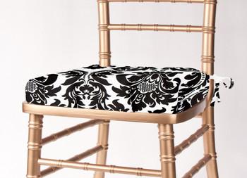 chair cushion cover balance ball chairs linens foldingchairsandtables com alterio black white damask chiavari
