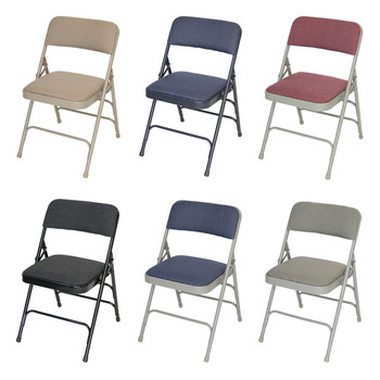 cushioned folding chairs blue chair bay rum recipes padded vinyl fabric upholstered classic series quad hinged triple cross braced