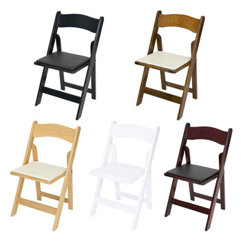folding chairs outdoor use stool chair big w wood wedding classic series with ivory vinyl padded seat