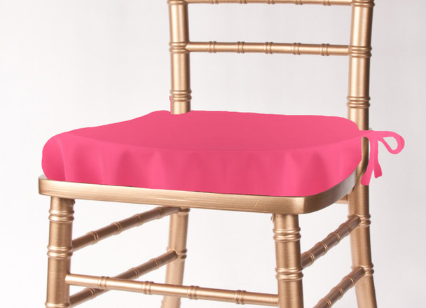 neon pink chair black kitchen solid polyester chiavari seat cushion cover