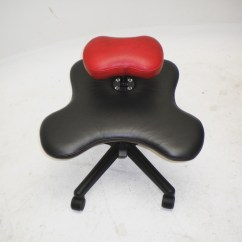Bicycle Seat Office Chair Wooden Computer Custom Soul For Cross Legged Sitting In Black And Red Vinyl