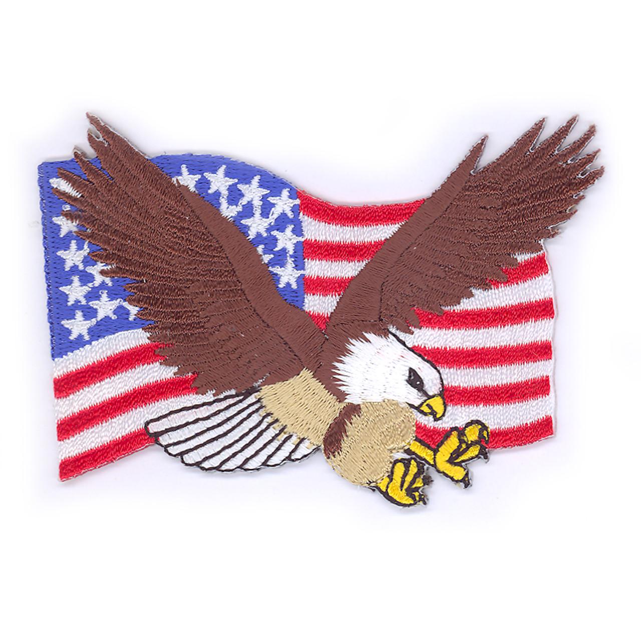 Pretentious A Bald Eagle A Usa Flag Stock Photo American