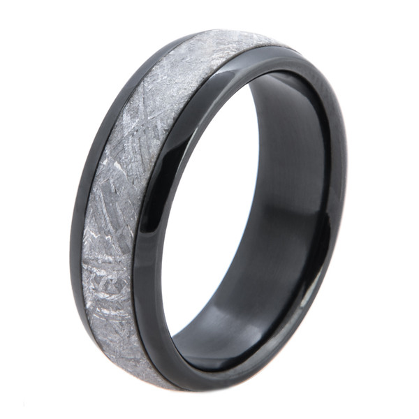 Mens Polished Black Zirconium Gibeon Meteorite Ring