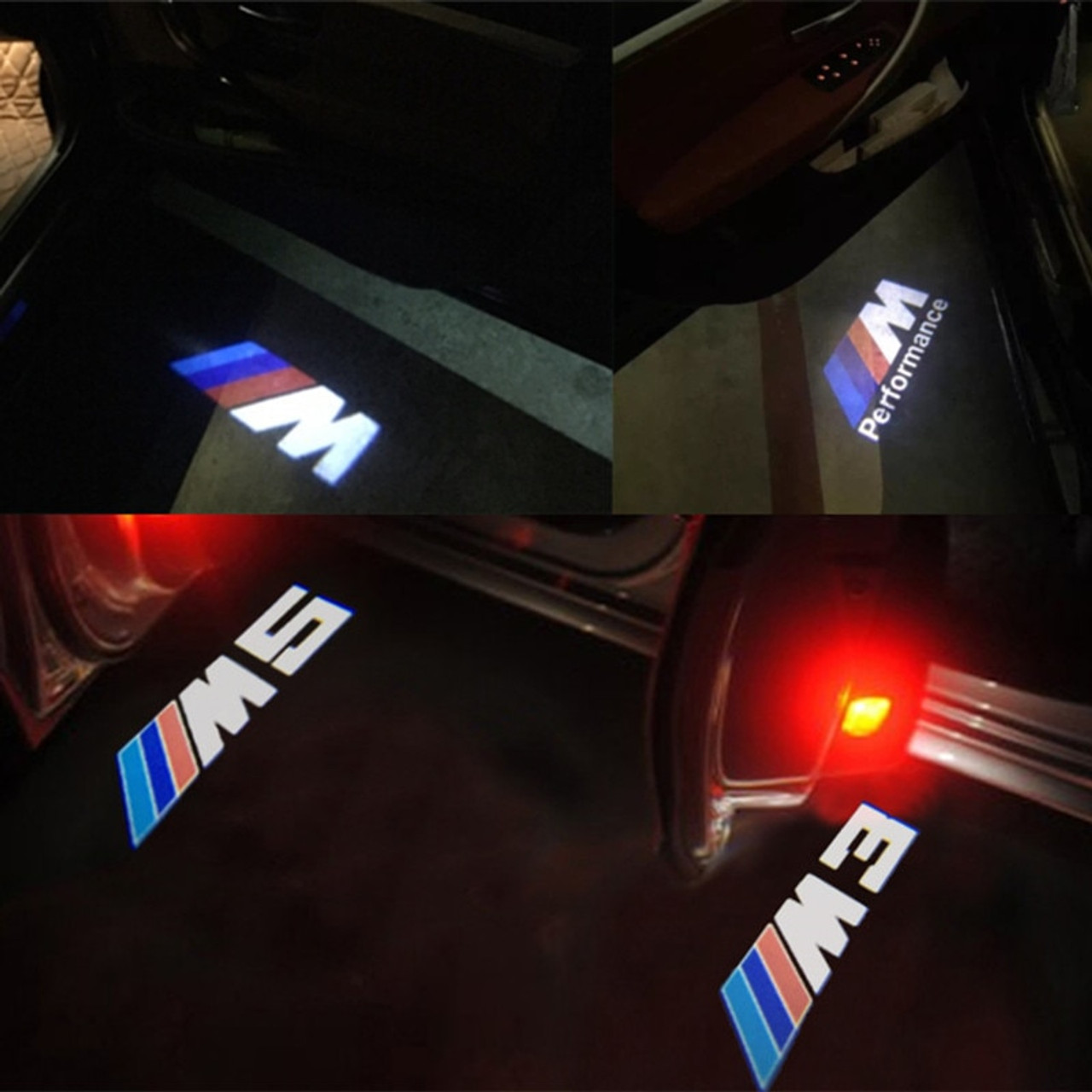2x led door warning light for bmw m performance logo projector for bmw [ 1280 x 1280 Pixel ]