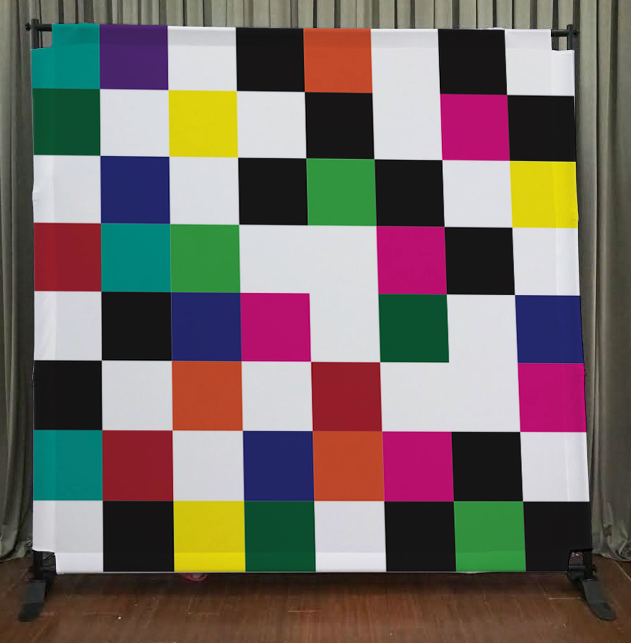 8x8 Printed Tension fabric backdrop (Colorful Checkers) - PB Backdrops
