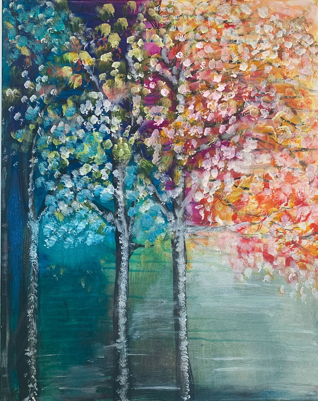 colorful tree painting class