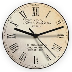 Rustic Kitchen Clock Long Table Personalised Glass The Gift Company