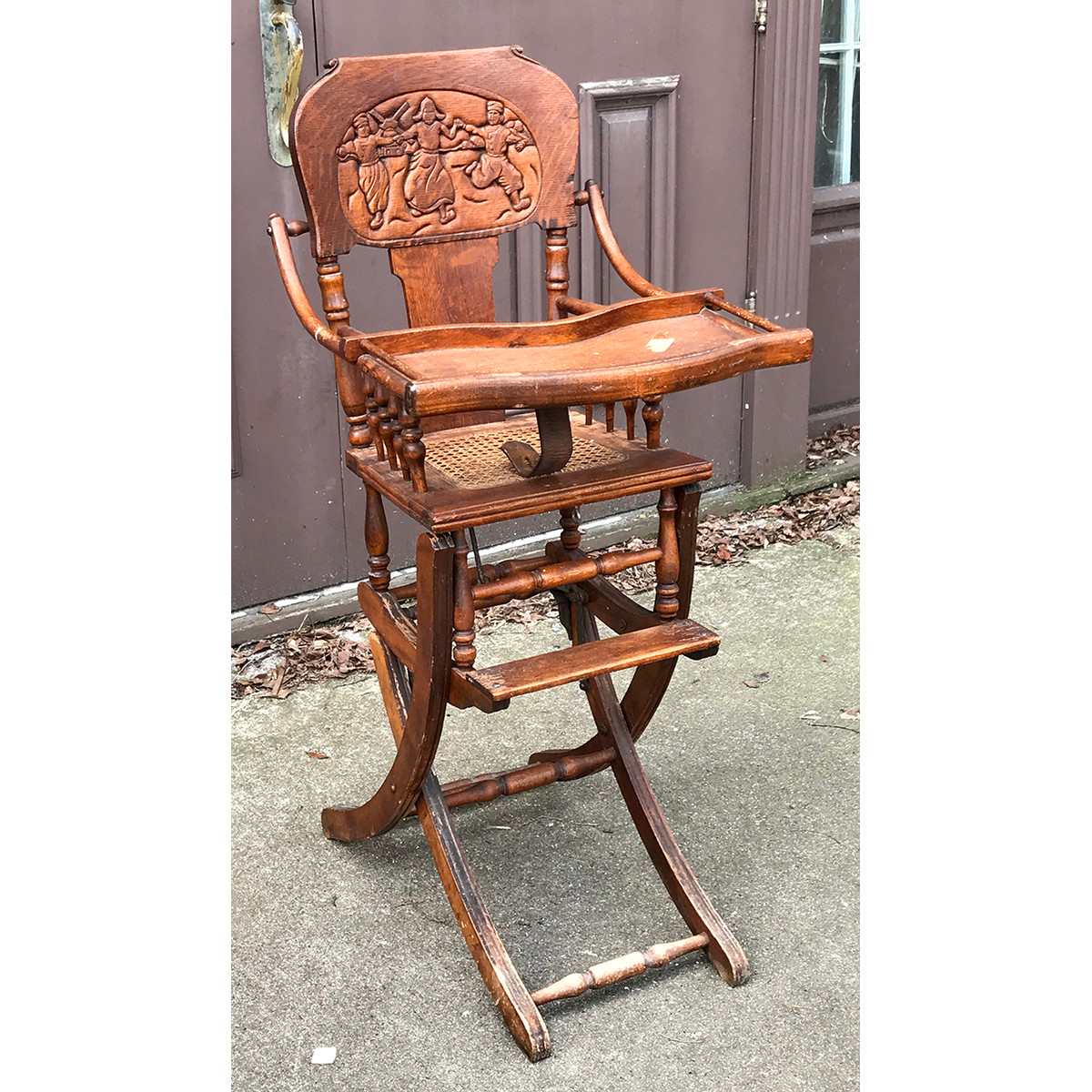 antique high chairs kids game chair f19011 quartersawn oak late victorian adjustable rocking your cart