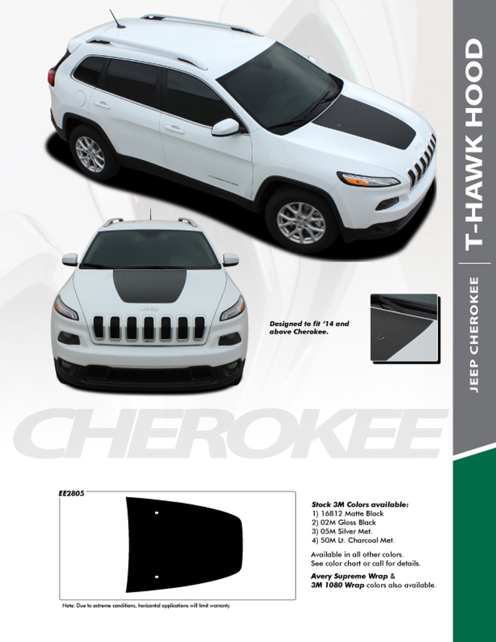 Jeep Grand Cherokee Hood Decals : grand, cherokee, decals, Cherokee, Decals, Trailhawk, Stripes, T-HAWK