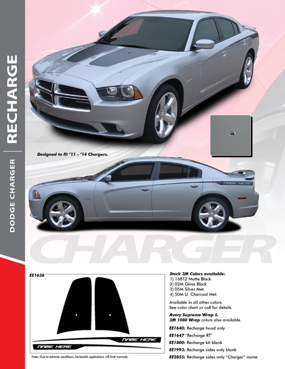 2006 Dodge Charger Decals : dodge, charger, decals, Dodge, Charger, Stripes, Split, Graphics, Decals, 2011-2014