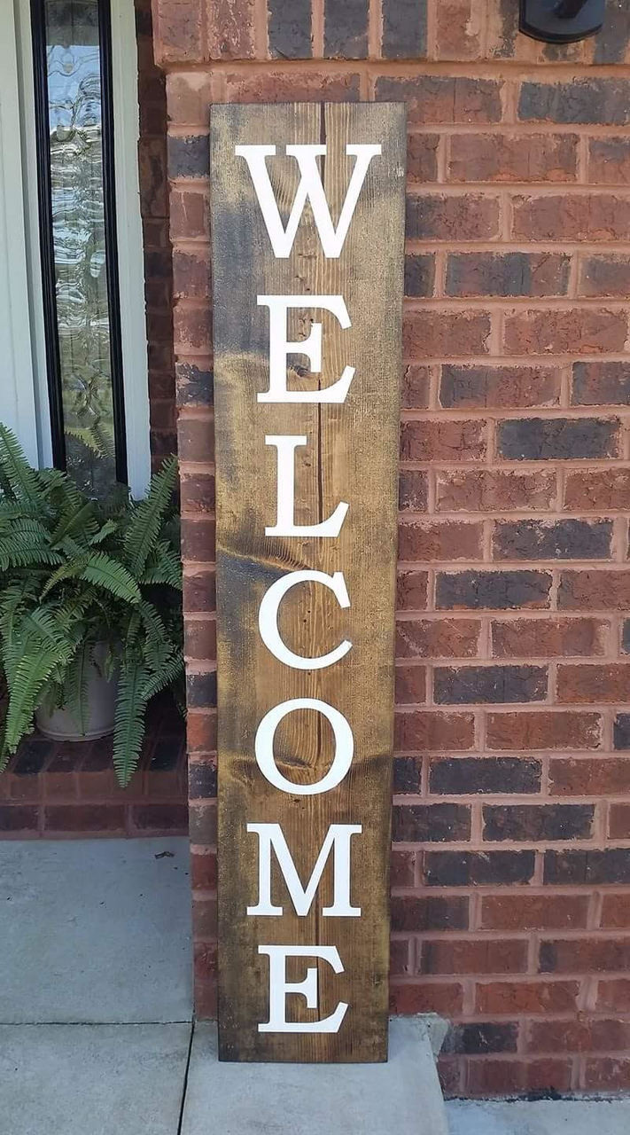 rustic wood sign welcome