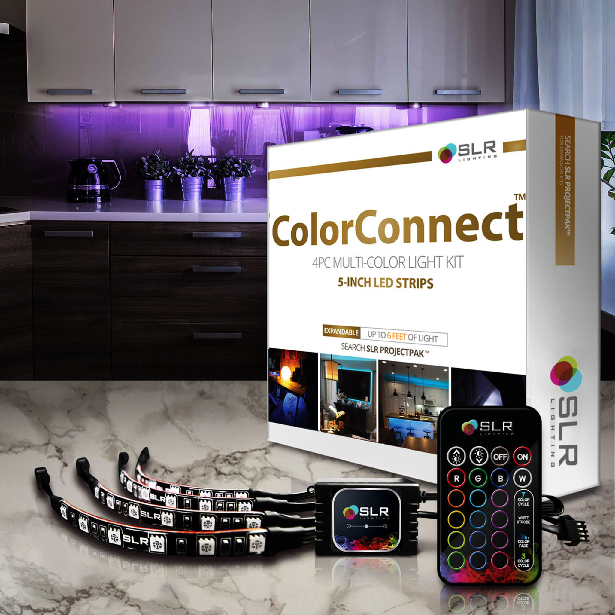 colorconnect kitchen lighting kit with 5 inch led strips remote motion sensor