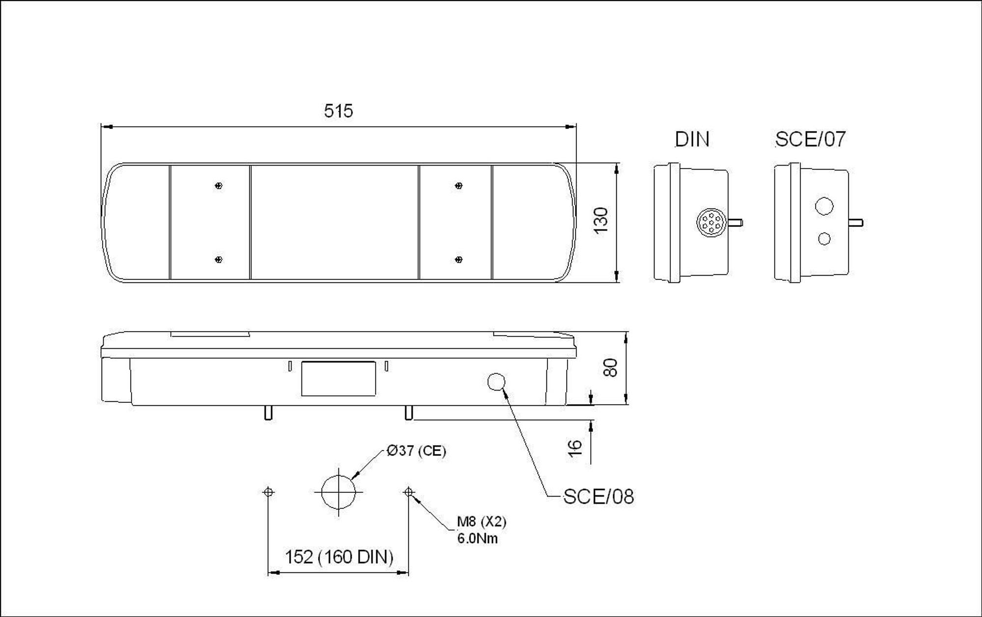 truck lite rubbolite 461din 07 44 scania 4 r series rh rear lamp with din plug [ 1223 x 768 Pixel ]