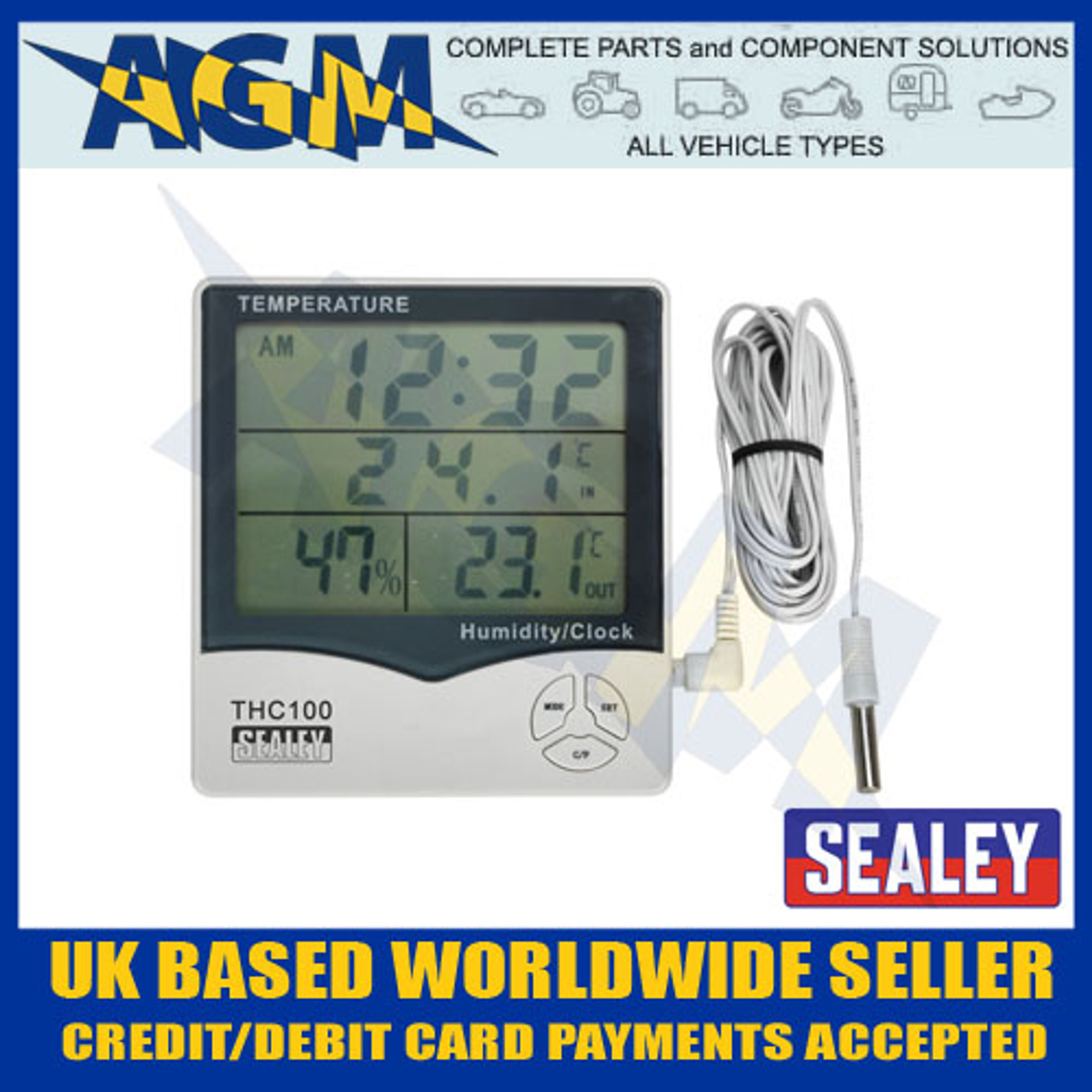 Sealey THC100 Panel Digital Thermometer For Inside/Outside ...