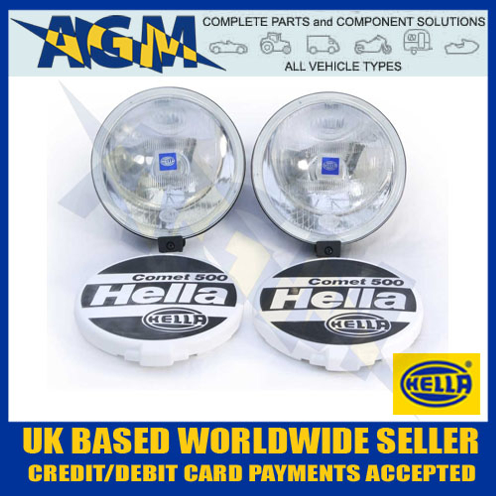 medium resolution of hella comet 500 lamp set with two lamps covers and fitting kit 1f4005750 731 s