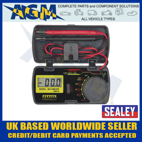 sealey mm18 pocket sized digital multimeter test multi meter in storage case [ 1000 x 1000 Pixel ]