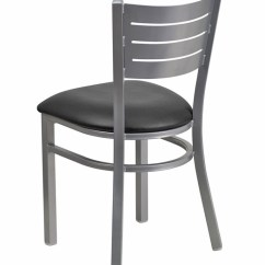 Steel Vinyl Chair Folding Picnic Chairs Silver Slat Frame Restaurant With Commercial Grade Seat