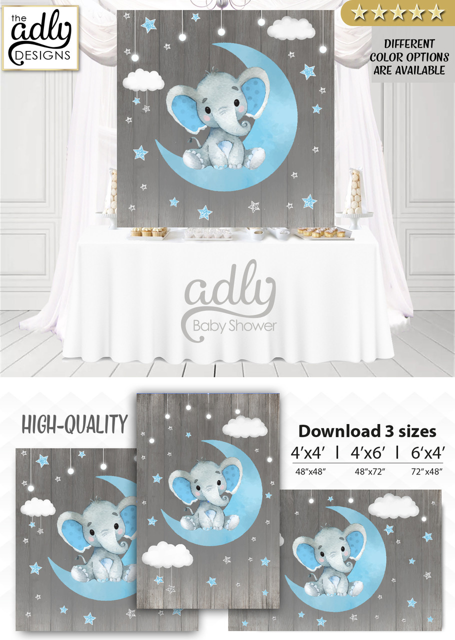 Baby Girl Shoes Wallpaper Moon Elephant Backdrop For Baby Shower Candy Table