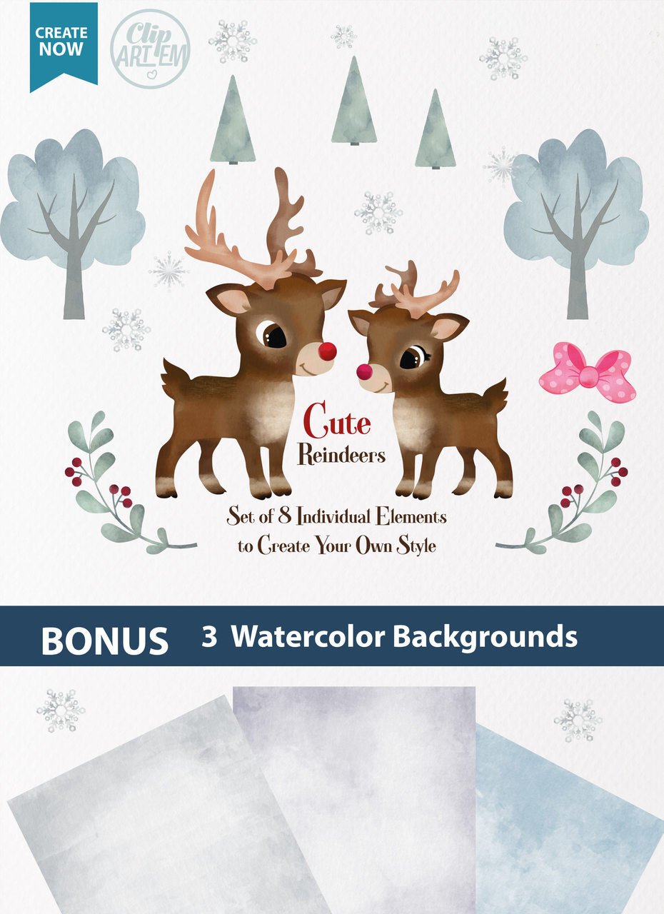 watercolor reindeers boy and girl digital clipart with 8 elements commercial use red nose reindeer digital clipart instant download antique reindeer  [ 930 x 1280 Pixel ]