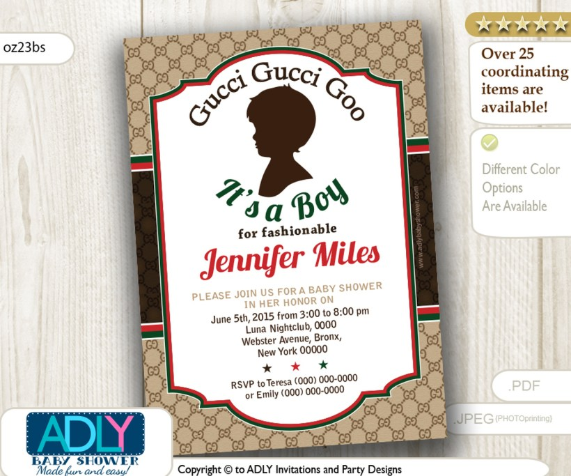 Gucci Goo It S A Boy For Fashionable Mommy To Be Invitation Baby Shower Adly Invitations And Digital Party Designs