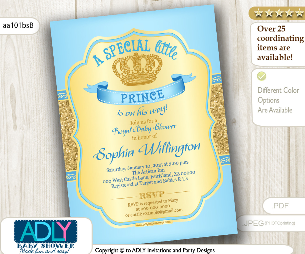 baby blue gold glitter prince invitation for baby shower light blue color