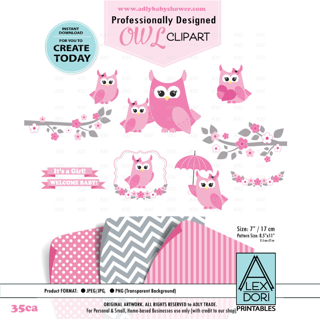 pink owl clip art mommy and baby owls clipart digital images for commercial use adly invitations and digital party designs [ 910 x 907 Pixel ]