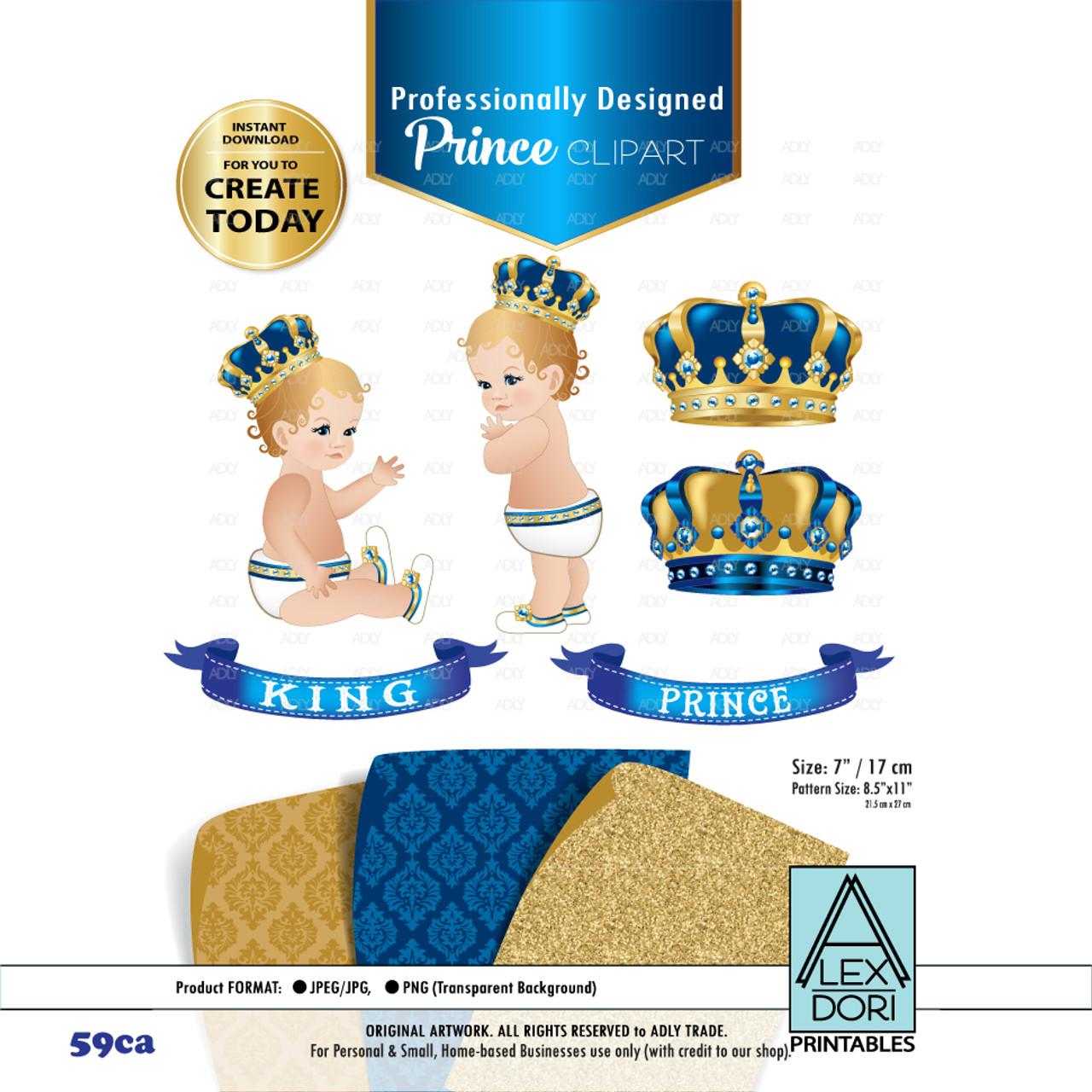 royal prince king royal digital clipart blue and gold baby clipart crown scrapbook clip art royal crowns royal baby shower