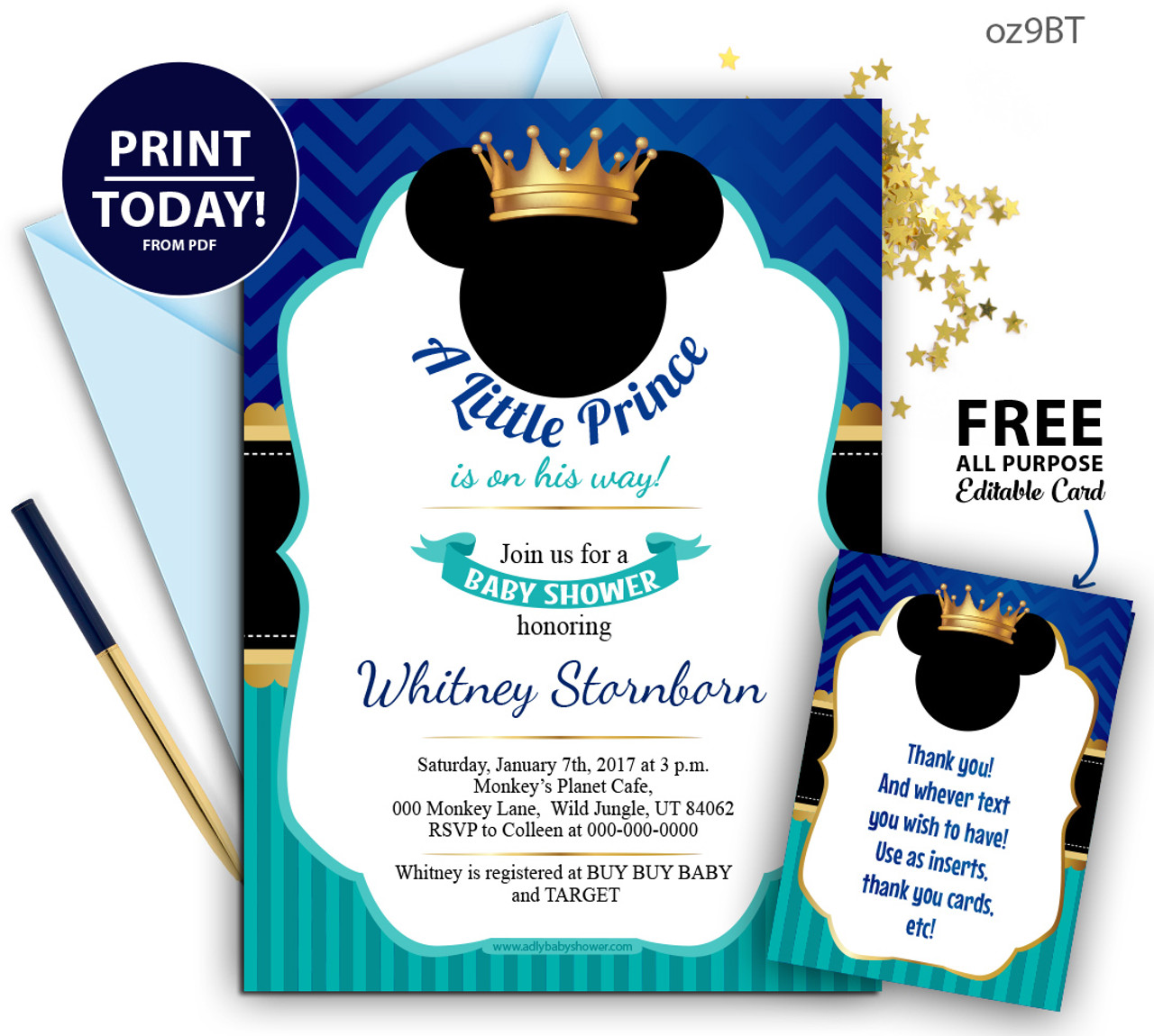 royal prince mickey baby shower blue and turqoiuse invitation crown digital mickey mouse invitation oz9bt