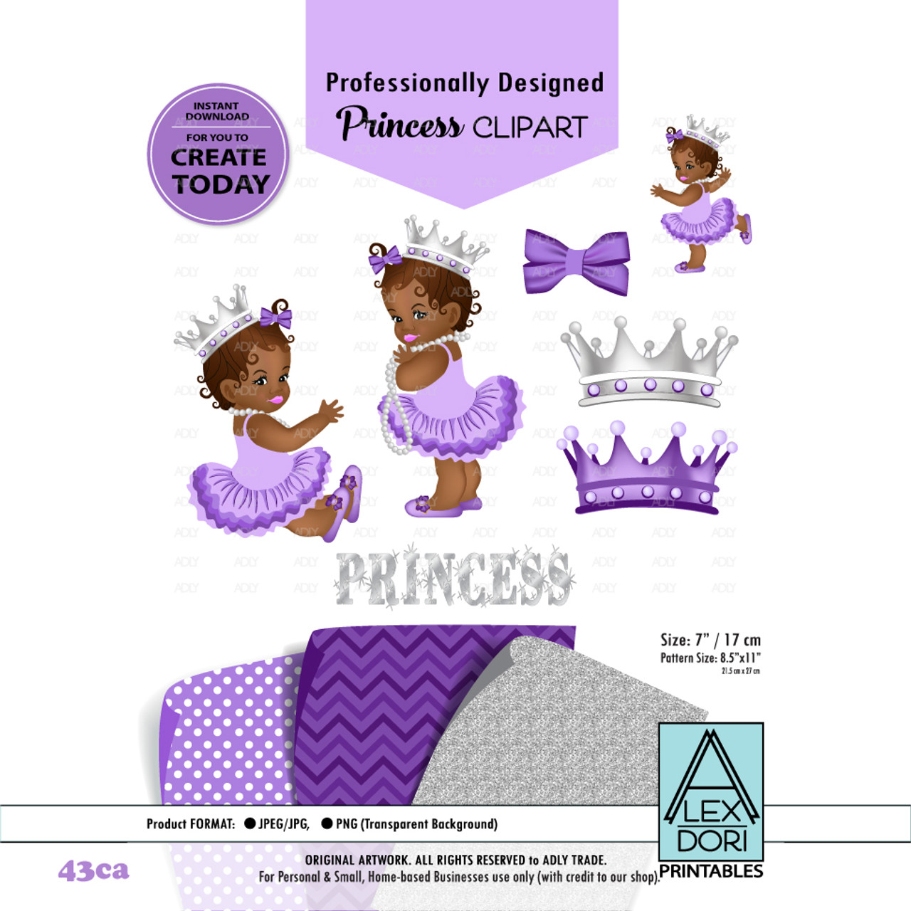 princess african american baby digital clipart purple and gray baby girl clipart crown clipart baby shower adly invitations and digital party designs [ 971 x 971 Pixel ]