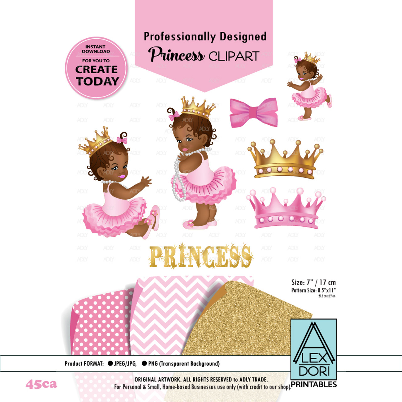 african american princess clipart pink gold baby shower digital clipart crown clipart royal baby shower adly invitations and digital party designs [ 971 x 971 Pixel ]