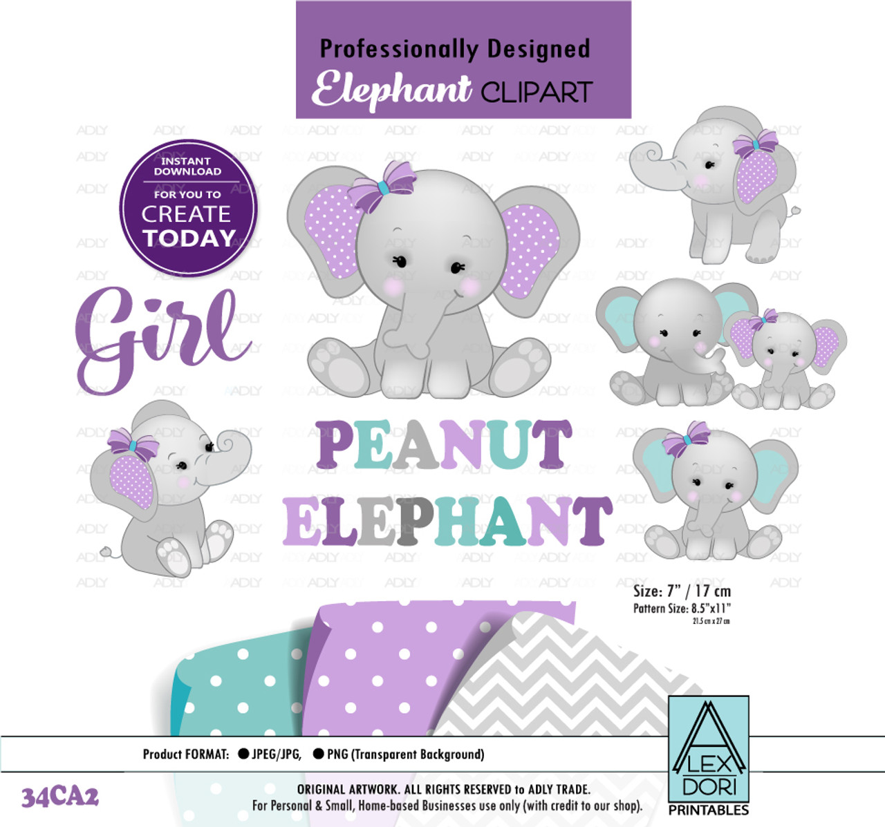 hight resolution of peanut elephant mommy and baby digital clipart baby elephant girl clipart purple gray teal turquoise clipart png jpeg adly invitations and digital party