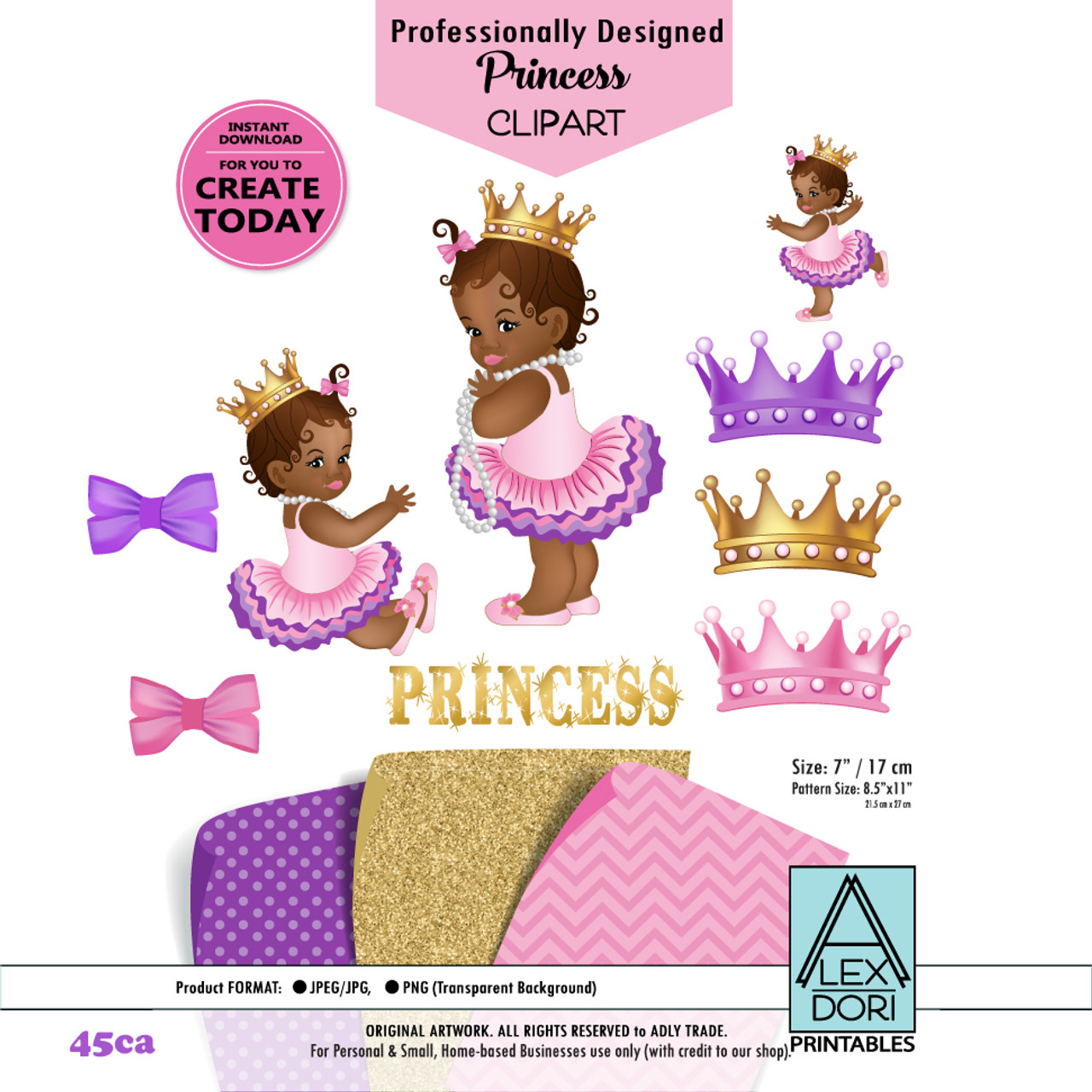 african american princess clipart pink gold and purple baby shower digital clipart crown clipart royal baby shower adly invitations and digital party  [ 971 x 971 Pixel ]