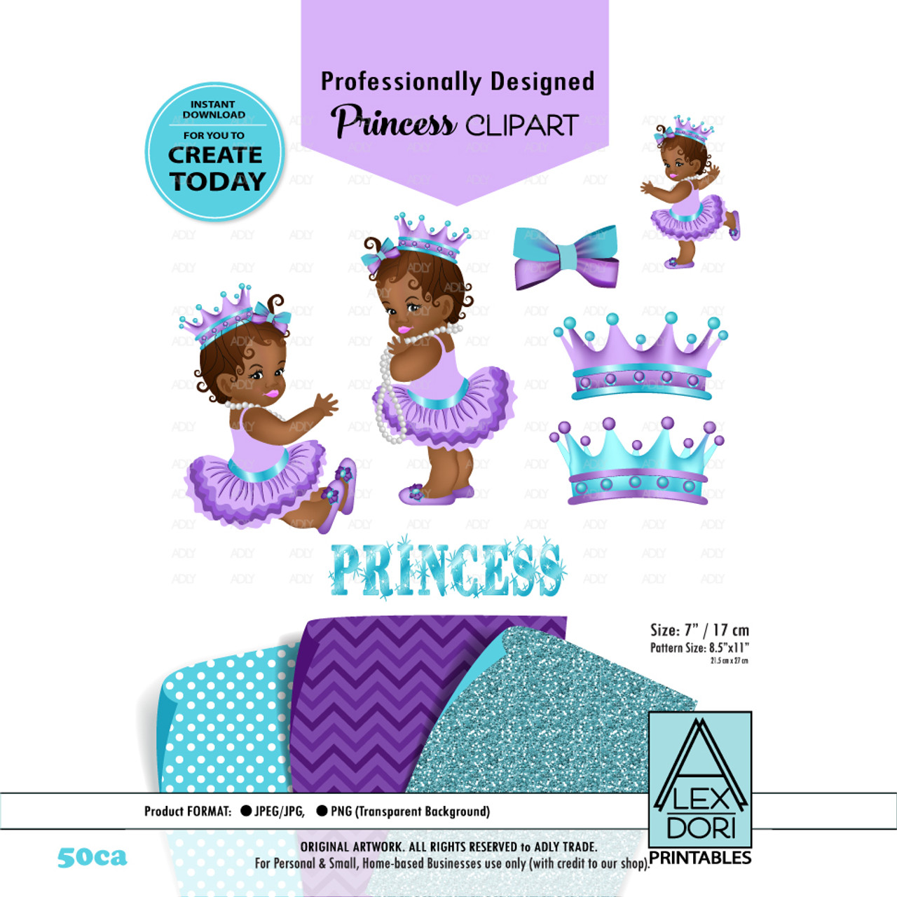 royal africa american baby shower clipart purple and turquoise princess clipart crown clip art digital clipart adly invitations and digital party  [ 971 x 971 Pixel ]