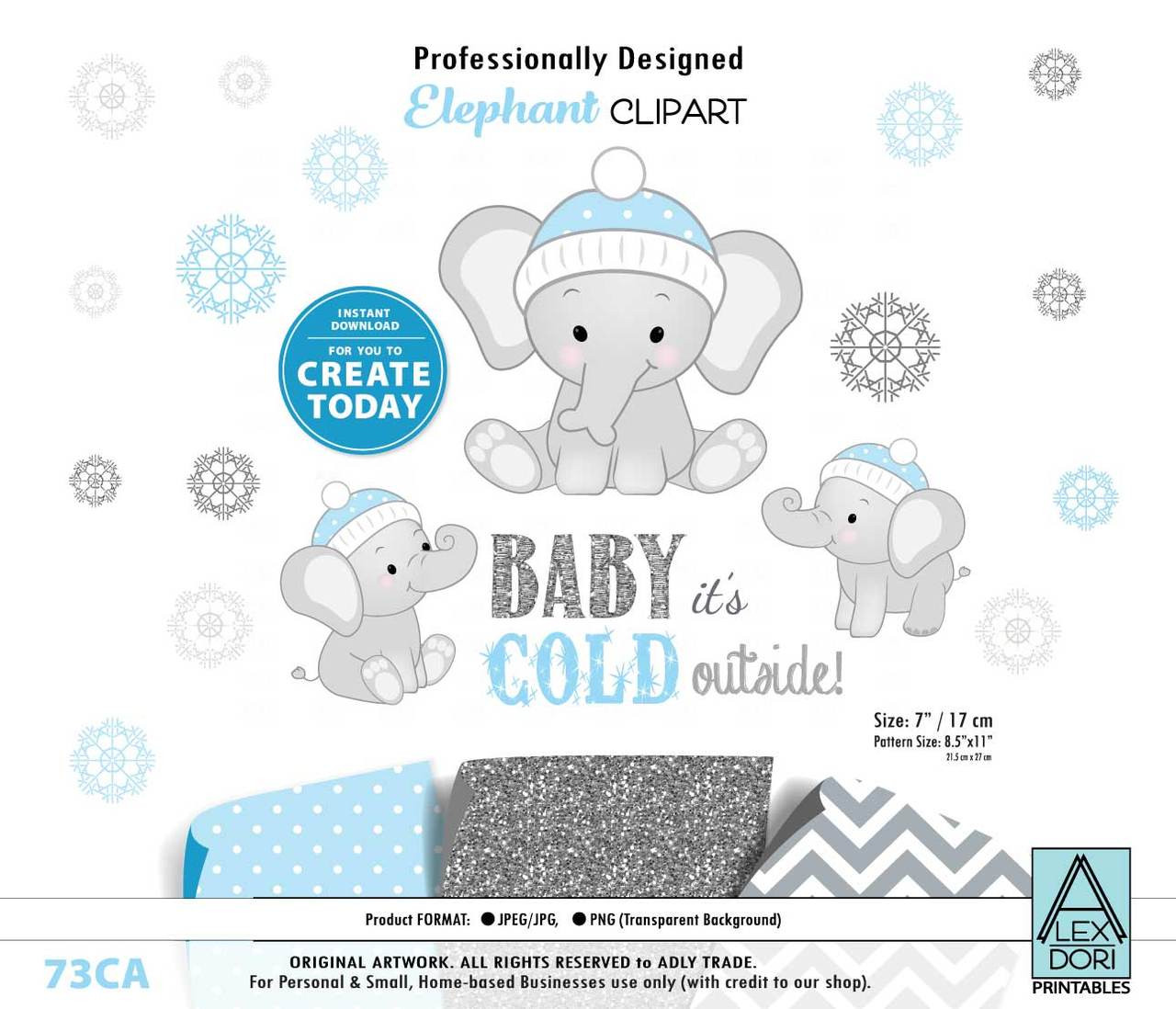 small resolution of winter elephant clip art blue gray peanut clip art png winter baby shower birthday gender neutral instant download commercial use adly invitations and