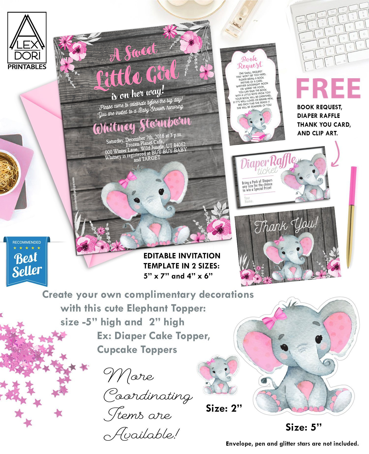 Pink Elephant Baby Shower Free Printables : elephant, shower, printables, Shower, Invitation, Elephant, Flowers,, Rustic, Wooden, Background, Invitations, Digital, Party, Designs
