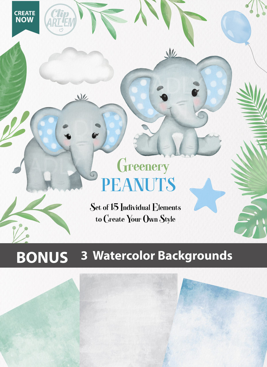 Baby Elephant Background : elephant, background, Elephants, Collection, Clipart,, Transparent, Background,, Shirt,, Nursery, Clipart, Invitations, Digital, Party, Designs