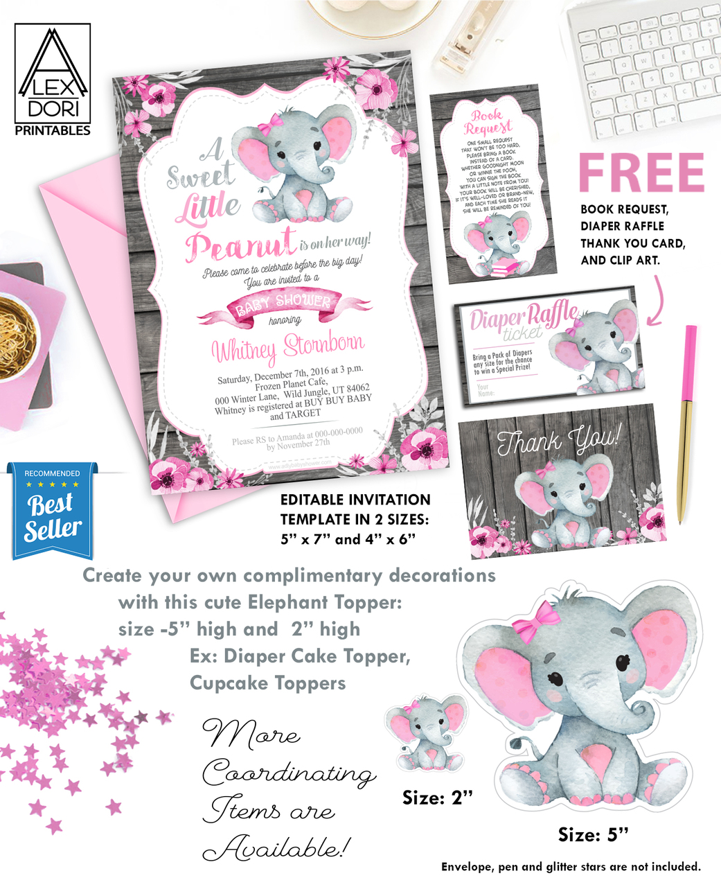 Pink Elephant Baby Shower Free Printables : elephant, shower, printables, Elephant, Shower, Invitation,, Wooden, Background, Printable, Invitation, Peanut, Invite-Girl, Shower-FREE, Diaper, Raffle, Invitations, Digital, Party, Designs