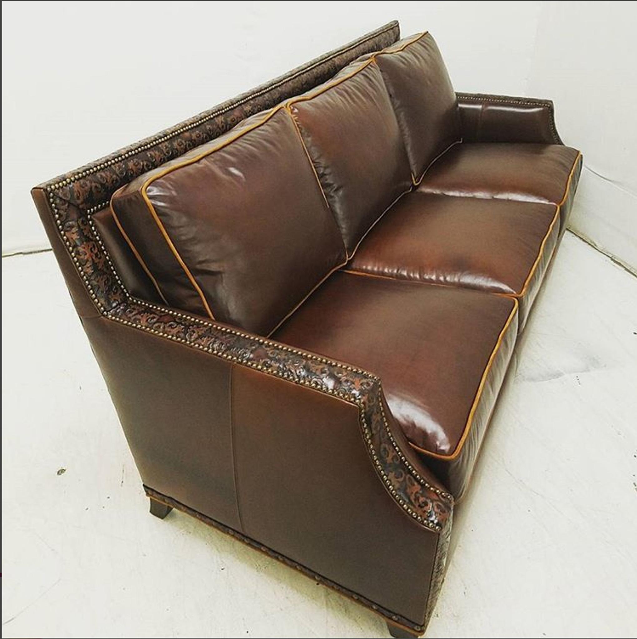 72 lancaster leather sofa la sofateria maddox american heritage custom made in usa 20 off
