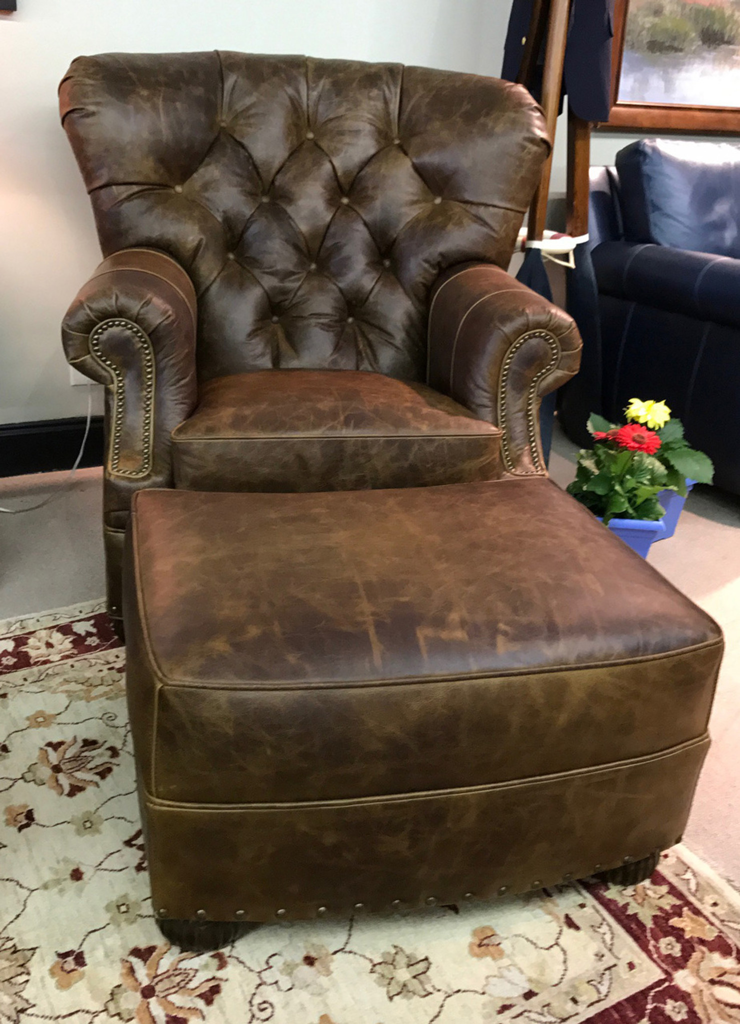 Tufted High Back Chair American Heritage Birmingham Barrel Tufted Chair And Ottoman 20 Off