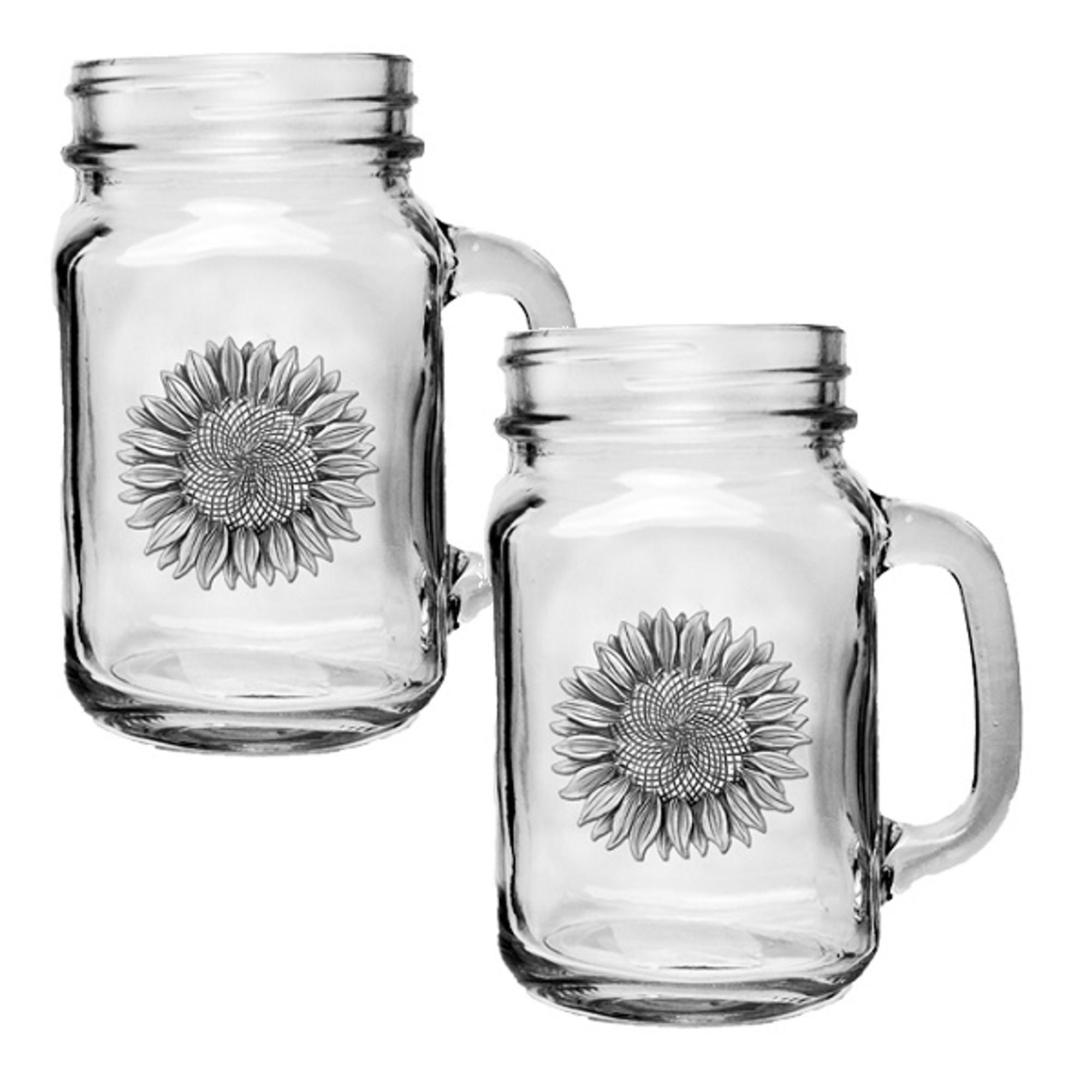sunflower mason jar mug